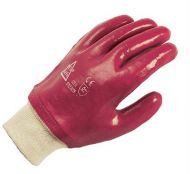 PVC Gloves, Red, Knitwrist
